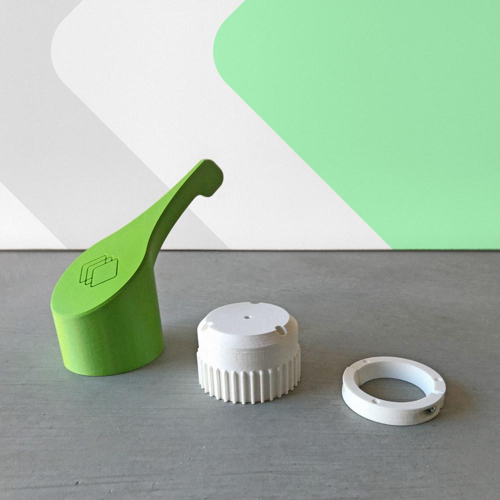 De onderdelen van de Layered Products kraanhendel